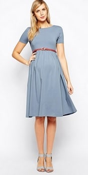 ASOS Maternity Slash Neck Skater Dress with Belt | Corporette