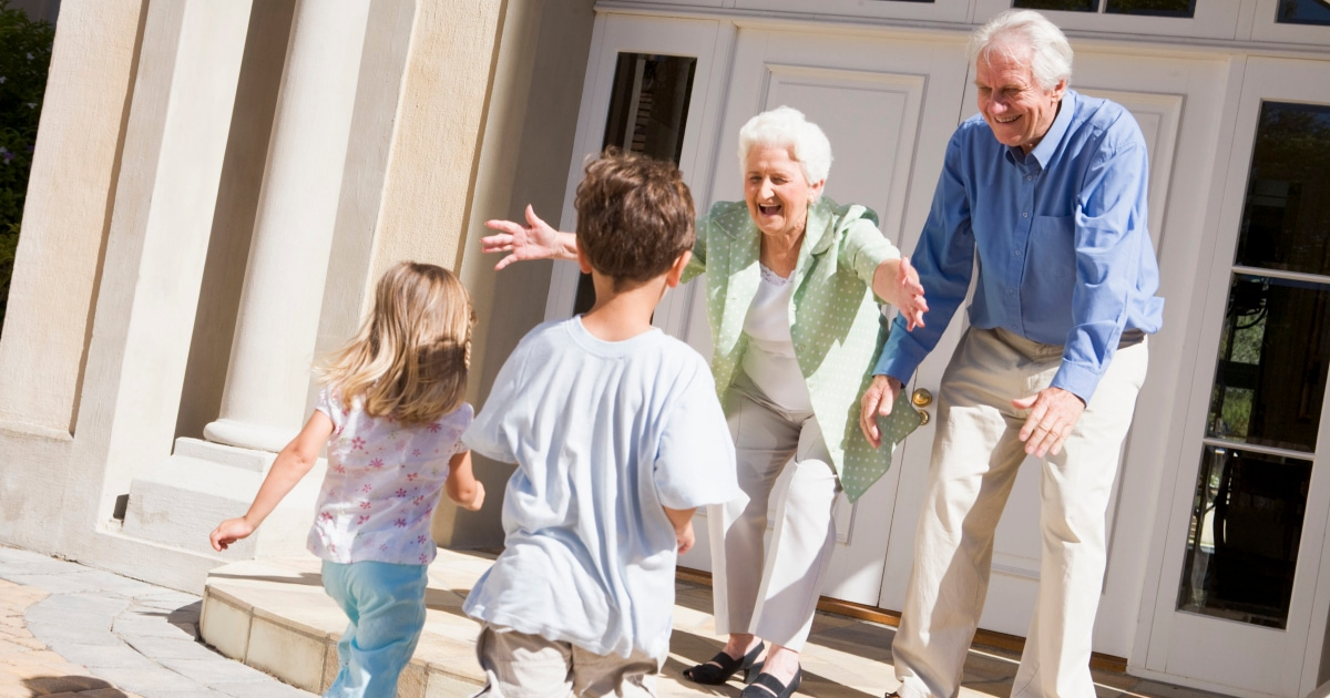 grandparents welcoming children with open arms
