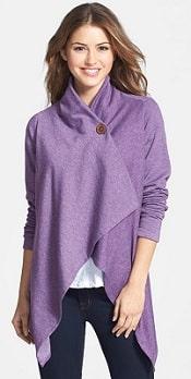 Asymmetrical Fleece Wrap Cardigan