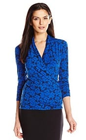 Chaus Womens Long Sleeve Naive Flower Wrap Top