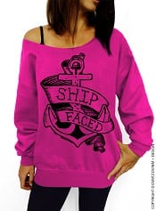 DentzDenim 'Ship Faced' Pink Slouchy Oversized Sweatshirt | CorporetteMoms