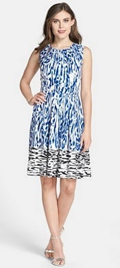 Ellen Tracy Border Print Twill Fit & Flare Dress   CorporetteMoms