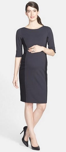 Eva Alexander London Ponte Knit Colorblock Maternity Dress | Corporette