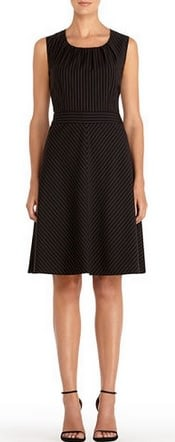 Jones New York Black Pinstripe Sleeveless Fit and Flare Dress | CorporetteMoms