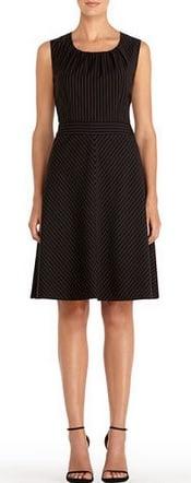 Jones New York Black Pinstripe Sleeveless Fit and Flare Dress | CorporetteMoms