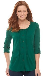 L.L. Bean Pima Button-Front Pin-Tucked Top, Long-Sleeve | CorporetteMoms