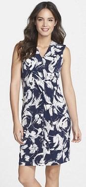 Marc New York Pleat Detail Floral Print Shift Dress