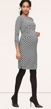 Maternity Mosaic Side Pleat Long Sleeve Dress 2