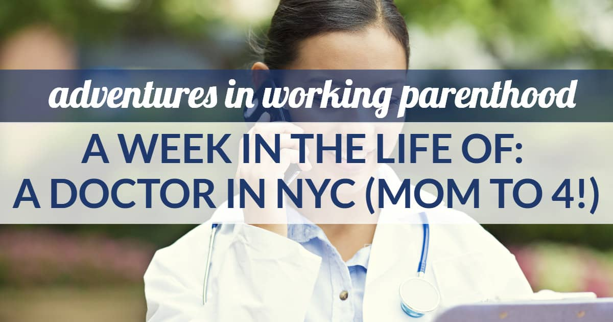 work-life balance of an nyc doctor mom -- image of a woman doctor on a cell phone