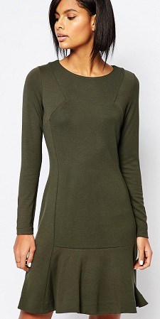 Olive Green Washable Dress: Whistles Exclusive Drop Waist Jersey Dress