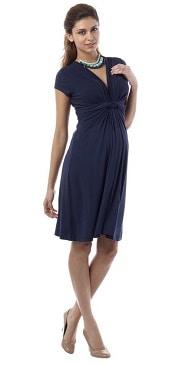 Seraphine Jolene Knot-Front Maternity and Nursing Short Sleeve Dress | CorporetteMoms