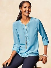 Washable Wednesday Silk Pintuck Blouse Corporettemoms