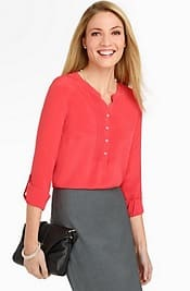 Talbots Washable Silk Pintuck Blouse | Corporette