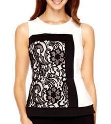 holiday party top - Worthington Sleeveless Lace Peplum Top | CorporetteMoms