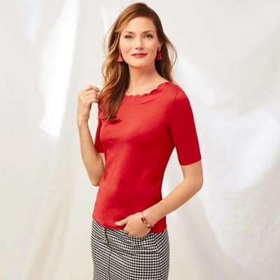 red scalloped tee with elbow sleeves