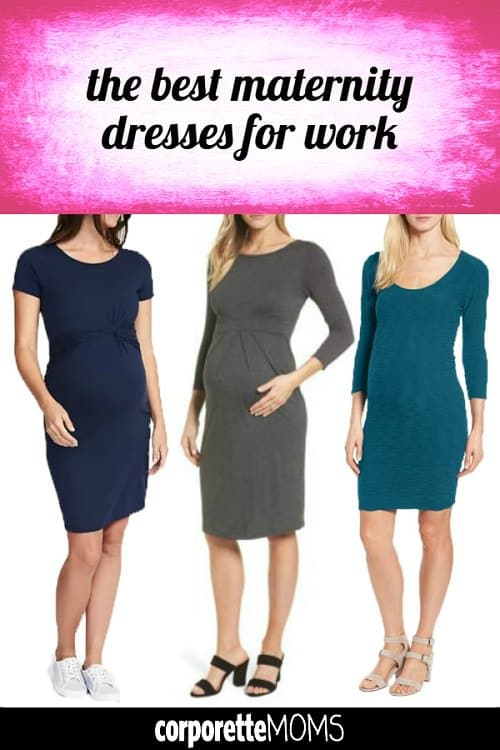 Which are the best maternity dresses for work? We often cover them as part of our regular maternity workwear coverage, but thought we'd do a special roundup so they're all in one place. These are some of our favorite maternity sheath dresses, body con dresses, and other professional-looking dresses for the pregnant mama-to-be!
