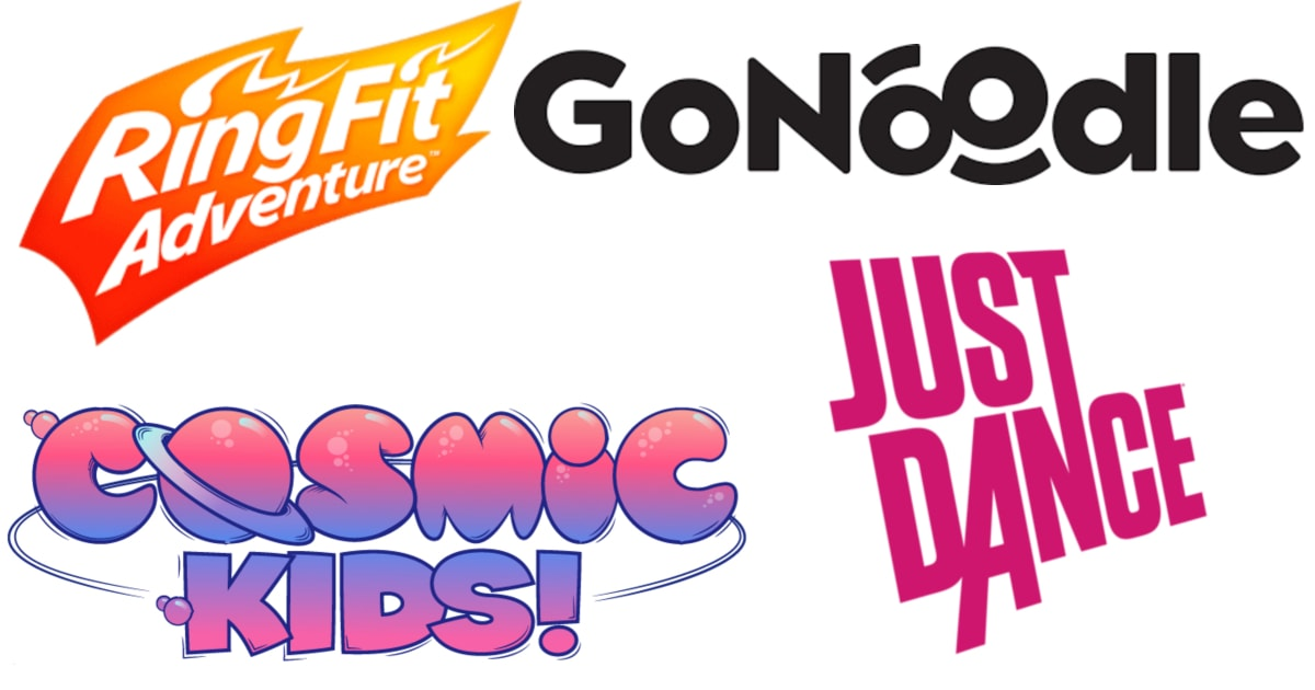 collage of logos including Ring Fit Adventure, GoNoodle, Just Dance and Cosmic Kids!