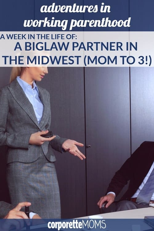"""In this installment of our """"Week in the Life of a Working Mom,"""" a BigLaw partner in the Midwest (and mom to 3) shares her tips and tricks for work-life balance, including how she limits her children's extracurricular activities and shares parenting duties with her husband."""