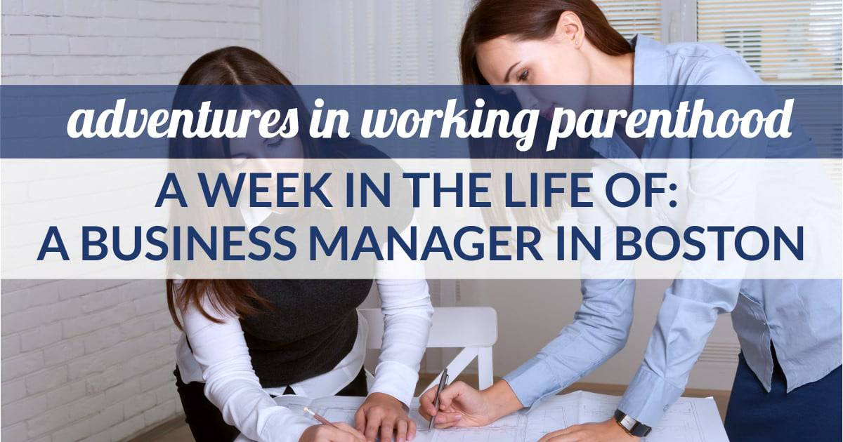 business manager in tech in boston shares her work-life balance as a working mom - image of two women working over a contract