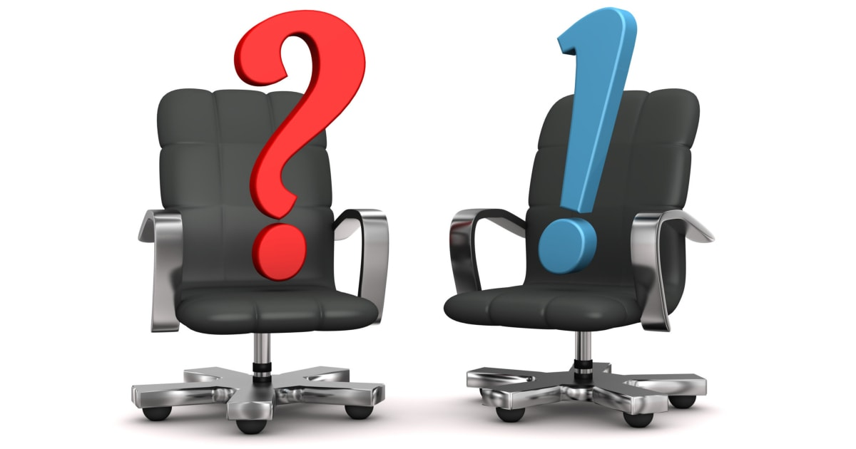illustration of two black swivel chairs with a red question mark seated in one and a blue exclamation mark seated in the other