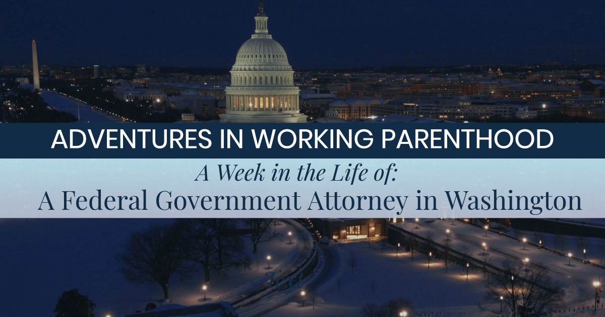 Image of the Capitol Building and Washington Monument with text on top: ADVENTURES IN WORKING PARENTHOOD, A Week in the Life Of: A Federal Government Attorney in Washington