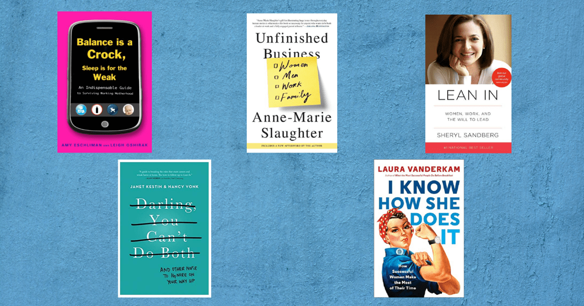 collage of book titles for working mothers