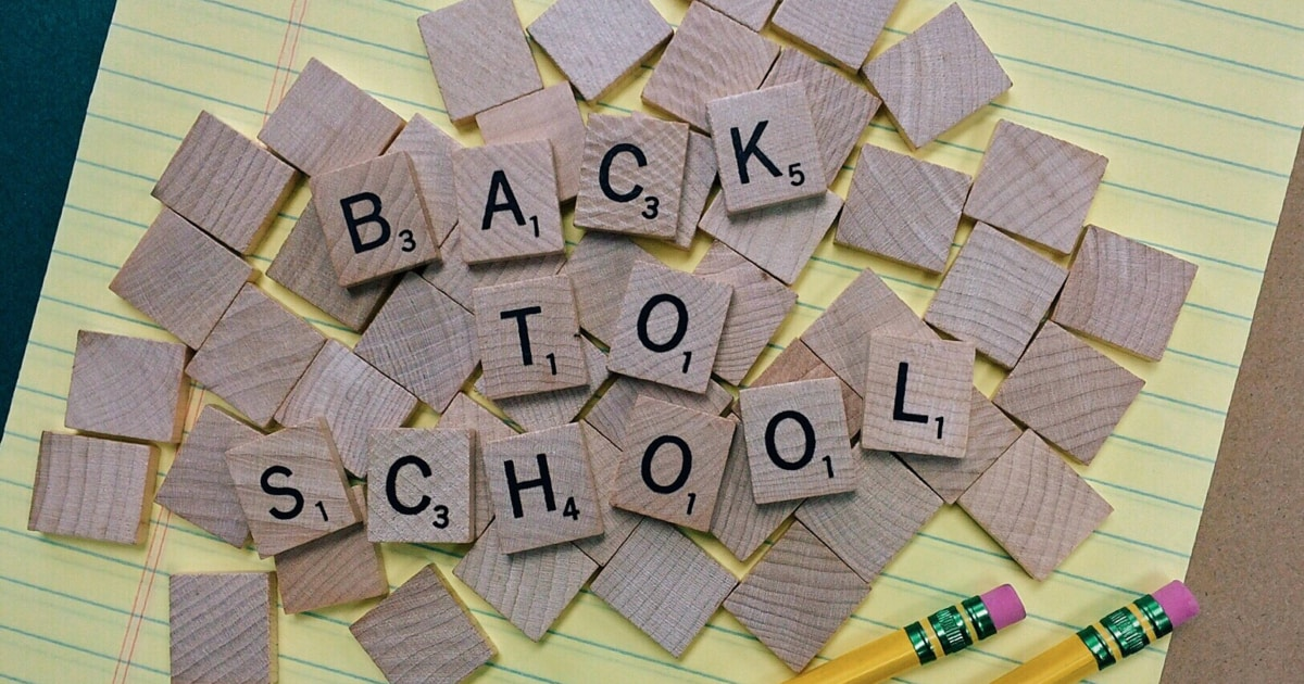 "Scrabble block letters reading out ""Back to School"""