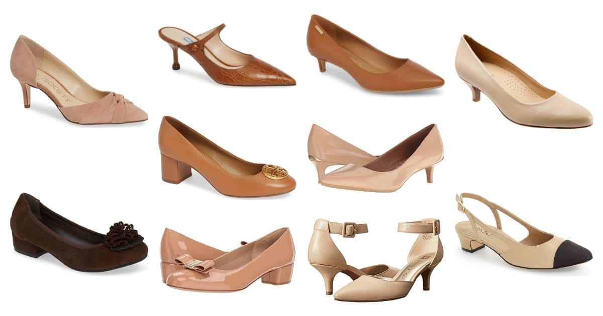 collage of low nude heels for work in varying shades of beige, caramel, and brown