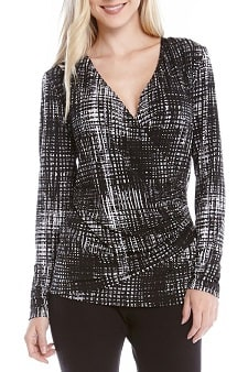 Nursing Workwear: Karen Kane Print Long Sleeve Faux Wrap Top