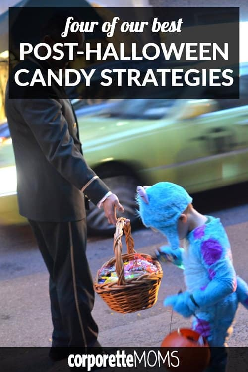 You may not realize this, but every mom needs a post-Halloween candy strategy. What SHOULD you do with all that Halloween candy after Halloween, especially with other holidays just around the corner? Fun discussion with working moms, as well as a few great options for post-Halloween candy strategies...