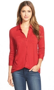 Caslon Long Sleeve Knit Shirt   CorporetteMoms