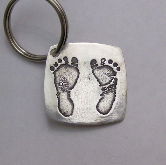 silver footprints keychain
