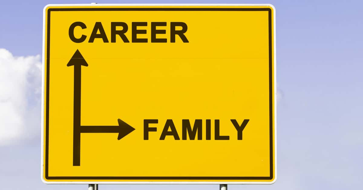 stock photo of street sign reading CAREER and FAMILY