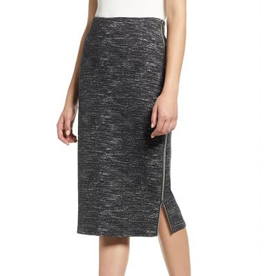 side zip ponte pencil skirt