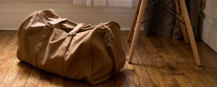 weekender bag packed and ready to go